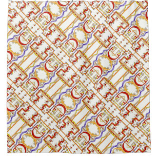 Foraging For Mushrooms-Whimsical Geometric Pattern Shower Curtain