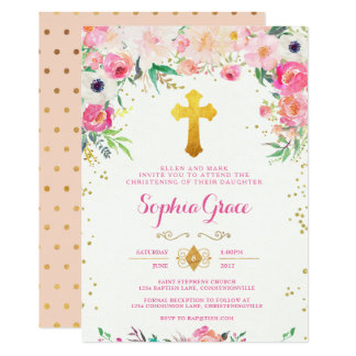 Foral and Gold Cross Christening Invitation