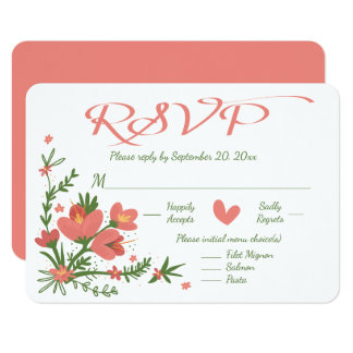 Foral RSVP Pink Coral And Green Flower 9 Cm X 13 Cm Invitation Card