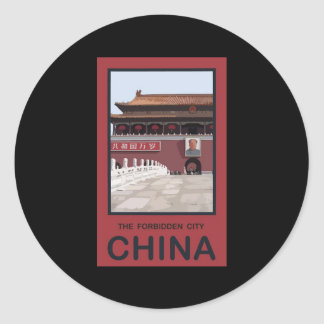Forbidden City China Classic Round Sticker