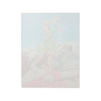 Forced landing retro pinup girl notepad