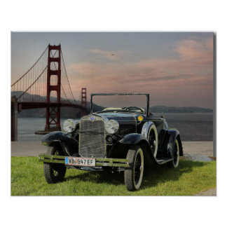 Ford Car Near Golden Gate Bridge Poster