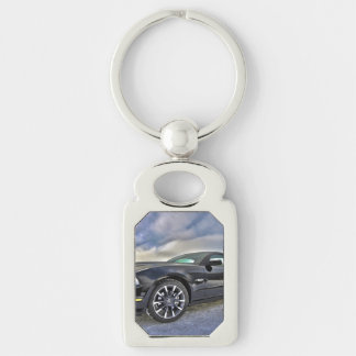 Ford Mustang Silver-Colored Rectangle Key Ring