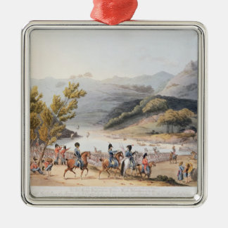 Fording of the River Mondego,engraved by C. Silver-Colored Square Decoration
