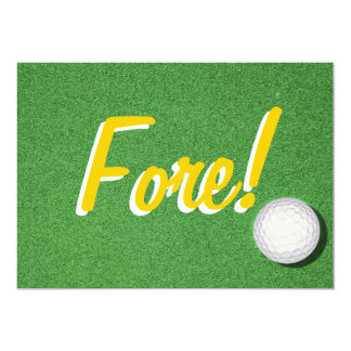 Fore - 50th Golf Birthday Party 5x7 Paper Invitation Card