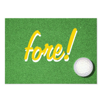 "Fore Golf Birthday Party Invitations 5"" X 7"" Invitation Card"