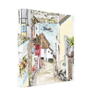 'Fore Street (Polruan)' Stretched Canvas Print