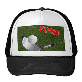 FORE with Golf Club Head and Ball Trucker Hat