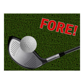 FORE with Golf Club Head and Ball Poster