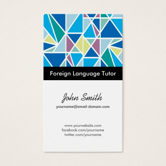 Foreign Language Tutor - Blue Abstract Geometry Business