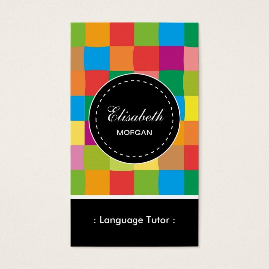 Foreign Language Tutor- Colourful Sqaure Pattern Business Card