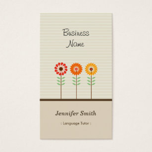 Esl teacher office supplies stationery zazzle foreign language tutor cute floral theme business card reheart Gallery
