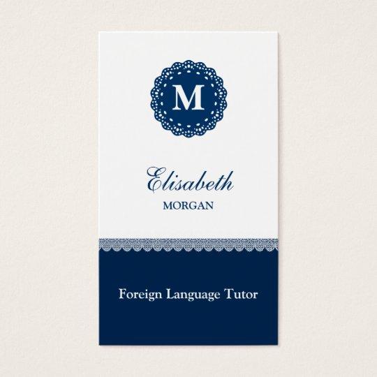 Foreign Language Tutor Elegant Blue Lace Monogram Business