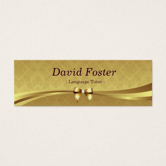 Foreign Language Tutor - Shiny Gold Damask Mini Business Card