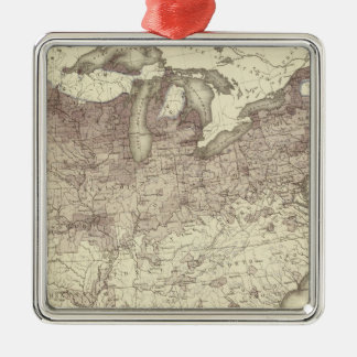 Foreign Population Proportion 1870 Silver-Colored Square Decoration