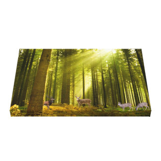 Forest and Deer image for wrapped-canvas Canvas Print