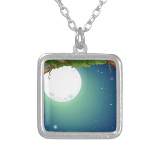 Forest and fullmoon square pendant necklace