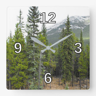 Forest and Mountain Scene Square Clock