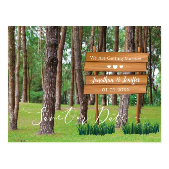 Forest And Nature Wedding Save the Date Postcard