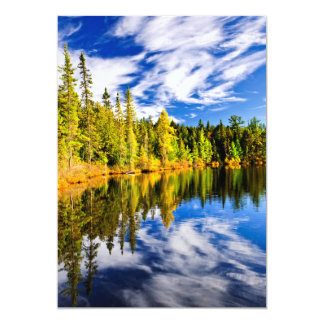 Forest and sky reflecting in lake announcements