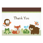 Forest Animal Friends Baby Shower Thank you card Personalized Invites