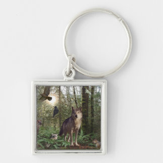 Forest Animals Gifts Silver-Colored Square Key Ring