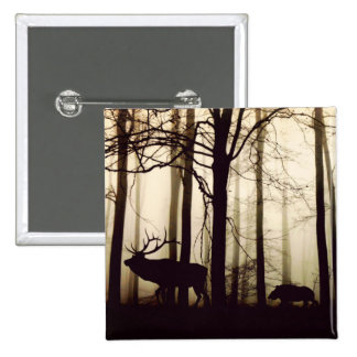 Forest Animals in a Fog 15 Cm Square Badge