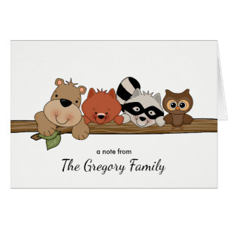 Forest Animals Thank You Note Card │ Folded
