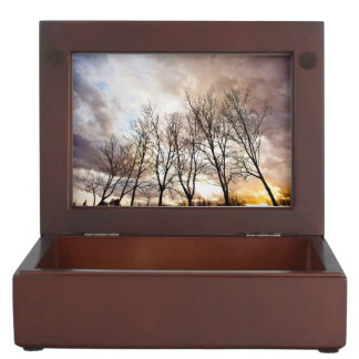 Forest at sunset with cloudy sky keepsake boxes