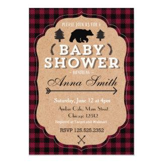 Forest bear baby shower invitation