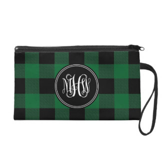 Forest Black Buffalo Check Plaid Vine Monogram Wristlet Purses