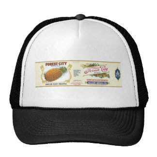 Forest City Sliced Pineapple VIntage Label Mesh Hats