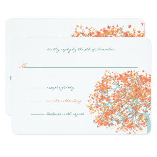 Forest Coral Leaves AQUA Tree  Wedding Invitation
