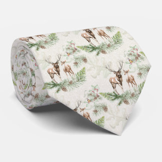Forest Deer and Pine Branch Tie