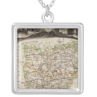 Forest, district boundaries silver plated necklace