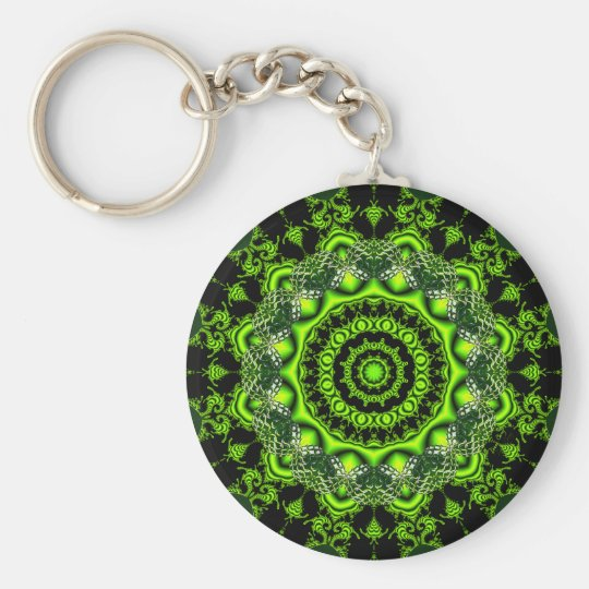 Forest Dome Mandala, Abstract Green Woods Key Ring