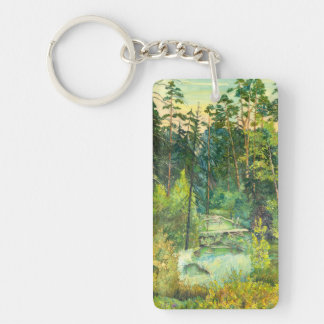 Forest Double-Sided Rectangular Acrylic Key Ring
