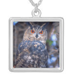 Forest Eagle Owl, Bubo bubo, Native to Eurasia 2 Square Pendant Necklace