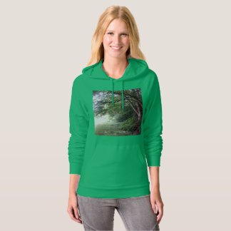 Forest Edge Tree Photo Hoodie Green with pockets