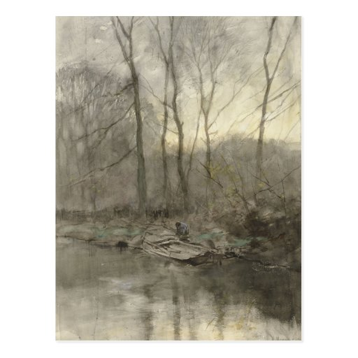 Forest edge water, anton mauve post card