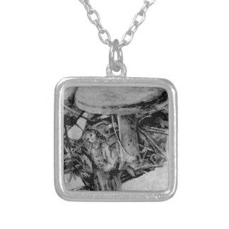 Forest Elf Fantasy Grey B/W Drawing Art Necklace