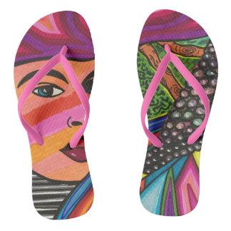 Forest face flip flops