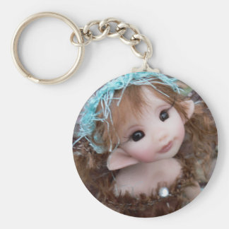 Forest Faery Girl Basic Round Button Key Ring