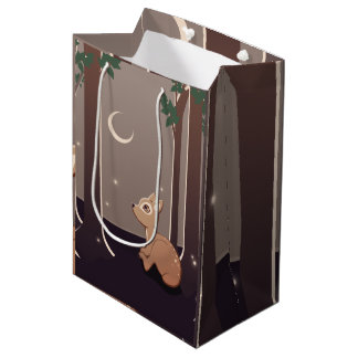 Forest Fawn With Fireflies And Moon Art Medium Gift Bag