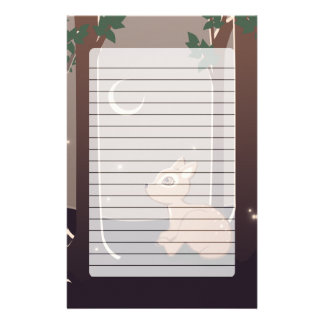 Forest Fawn With Fireflies And Moon Art Personalised Stationery