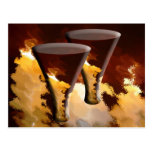 Forest Fire Beverage Glasses Candles Gold Brown Post Cards
