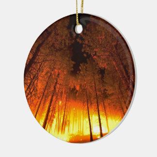 Forest Fire Round Ceramic Decoration
