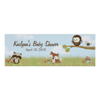 Forest Friends Baby Shower Banner Poster