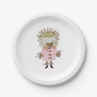 Forest Friends Cute Hand Painted Hedgehog 7 Inch Paper Plate