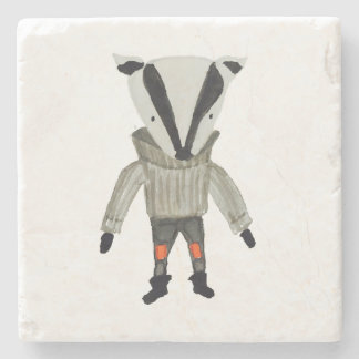 Forest Friends Cute Little Badger Stone Beverage Coaster